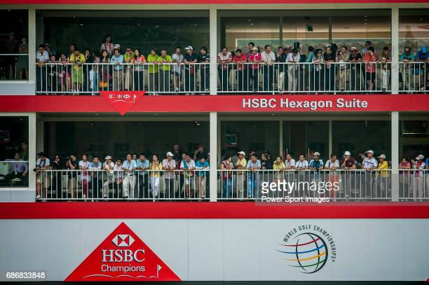 A crowd of spectators watch the players in action during the day three of the WGC HSBC Champions at the Mission Hills Resort on November 03 in...