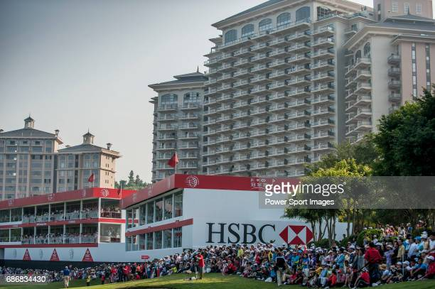 A crowd of spectators watches players in action during the day four of the WGC HSBC Champions at the Mission Hills Resort on November 04 in Shenzhen...