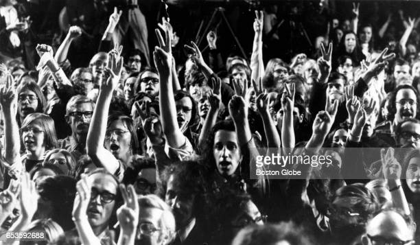 A crowd of supporters celebrate Sen George McGovern's victory in the presidential preference primary on April 25 1972 at the Statler Hilton Hotel in...