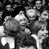 Crowd of teenage (16-19) fans, close-up (B&W)