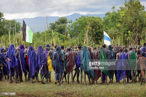 Crowd of tribal warriors at Donga stick fight