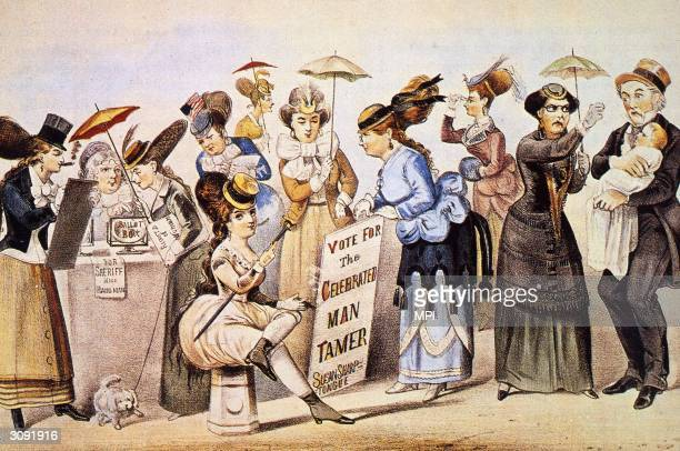 A crowd of women joining the National Woman Suffrage Association which was led by Elizabeth Cady Stanton and Susan B Anthony