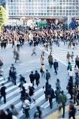 Crowd on pedestrian crossings in Shibuya, Japan