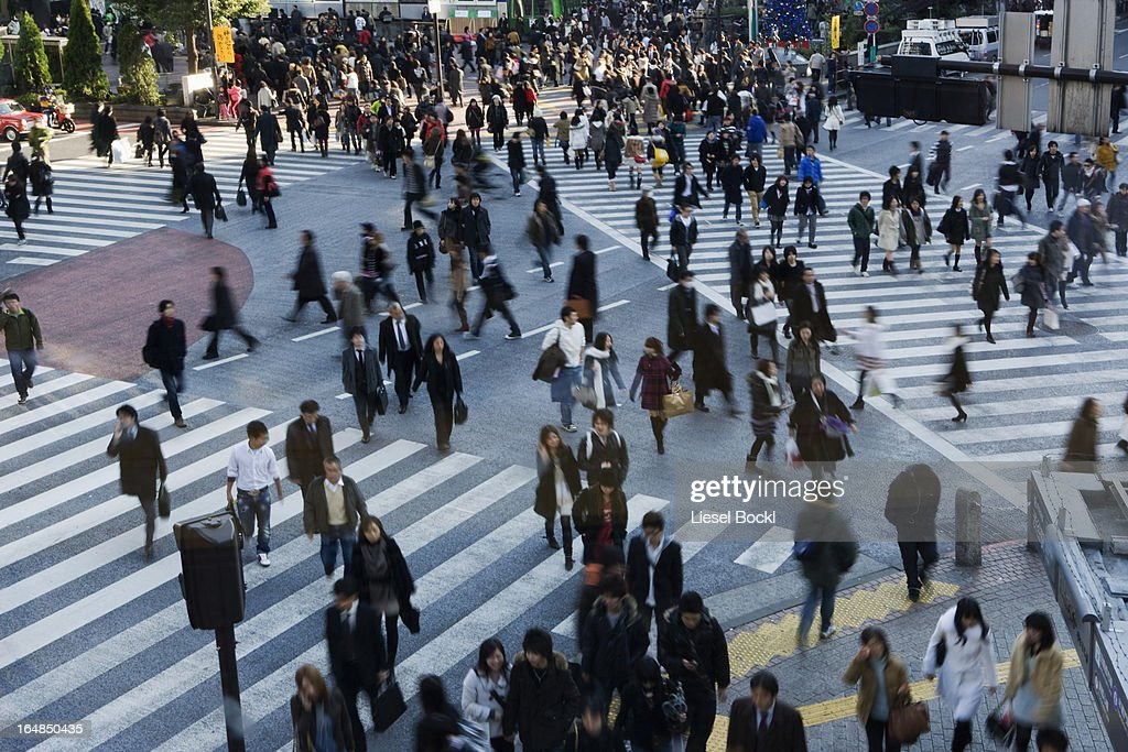 Crowd on pedestrian crossings in Shibuya, Japan