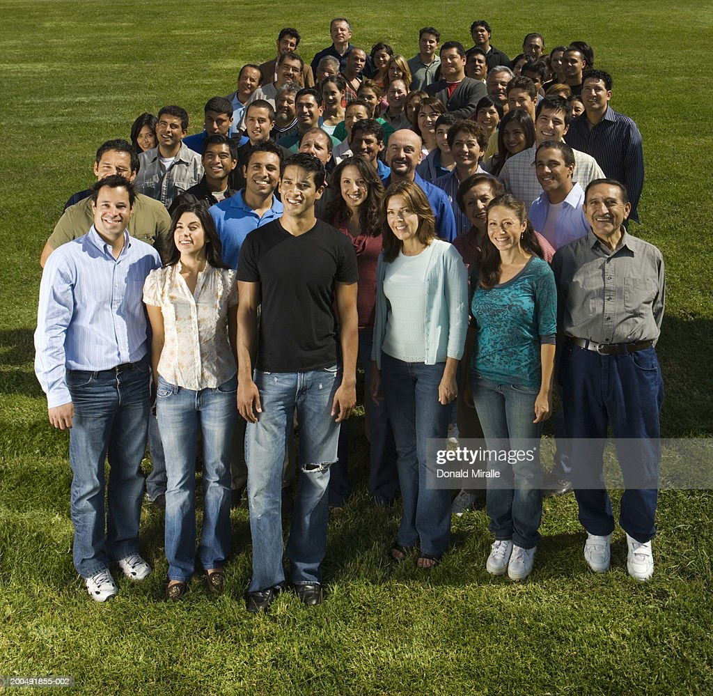 Crowd outdoors, portrait : Stock Photo