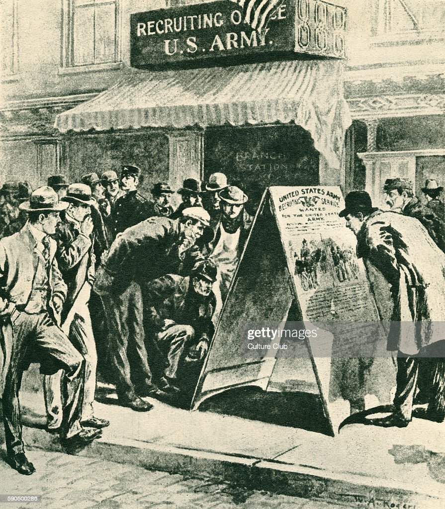 Crowd outside a US Army Recruitment Office after the sinking of the battleship 'Maine' in Havana harbour January 1898 Cuban War of Independence...