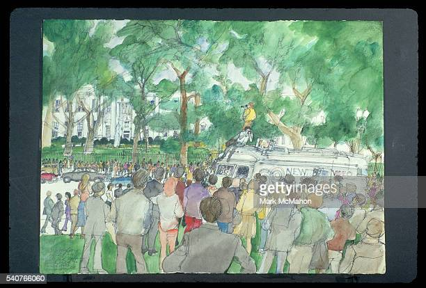 Crowd Outside the White House During the NixonFord Transition by Franklin McMahon