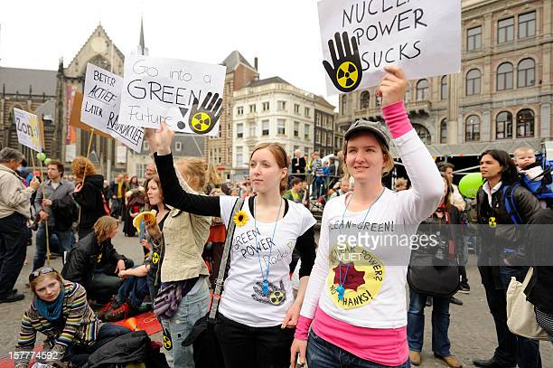Crowd protesting against nuclear energy, Dam Square, Amsterdam