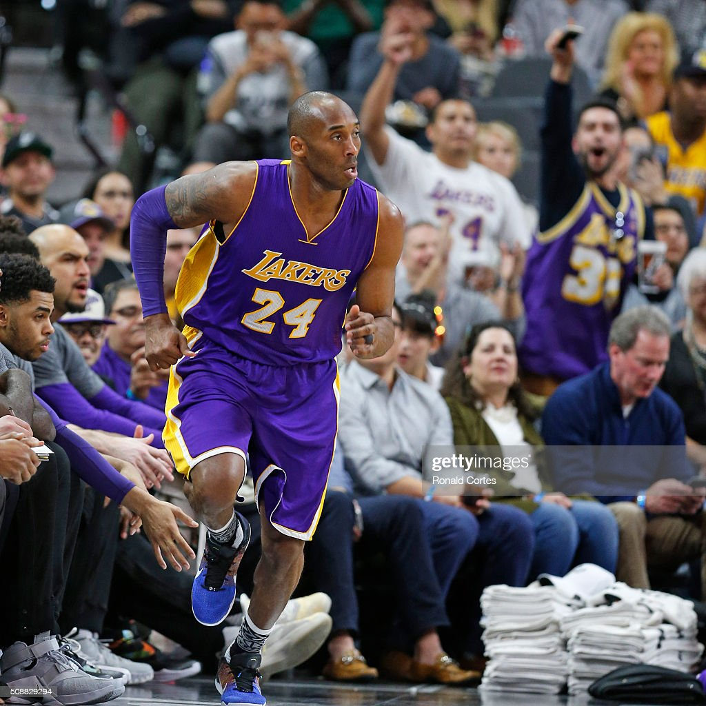 Crowd reacts after a three by <a gi-track='captionPersonalityLinkClicked' href=/galleries/search?phrase=Kobe+Bryant&family=editorial&specificpeople=201466 ng-click='$event.stopPropagation()'>Kobe Bryant</a> #24 of the Los Angeles Lakers during game against San Antonio Spurs at AT&T Center on February 6, 2016 in San Antonio, Texas.