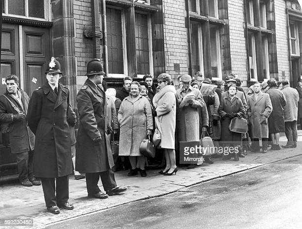 Crowd scene outside Hyde Court Manchester 10th December 1965 Queue of people waiting to enter gallery and watch latest proceedings The Moors murders...