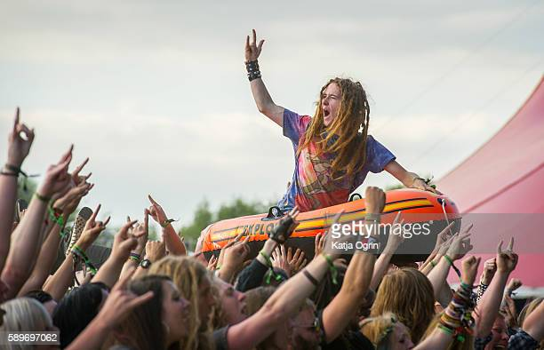 Crowd surfers at Bloodstock Festival at Catton Park on August 14 2016 in Burton upon Trent England
