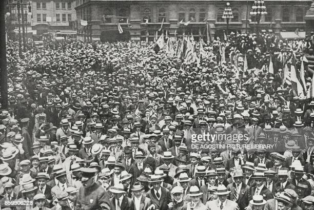 Crowd waiting for the Italian Mission Broad Street Philadelphia United States of America from L'Illustrazione Italiana Year XLIV No 29 July 22 1917