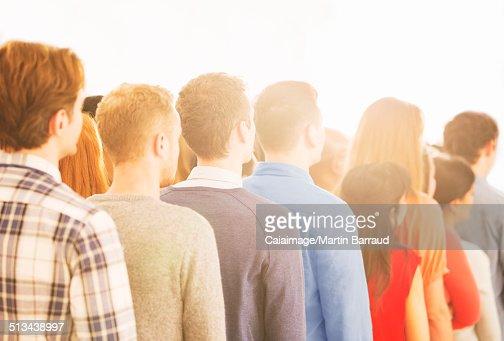 Crowd waiting in queue