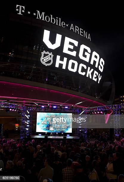 A crowd waits before the Vegas Golden Knights was announced as the name for the Las Vegas NHL franchise at TMobile Arena on November 22 2016 in Las...