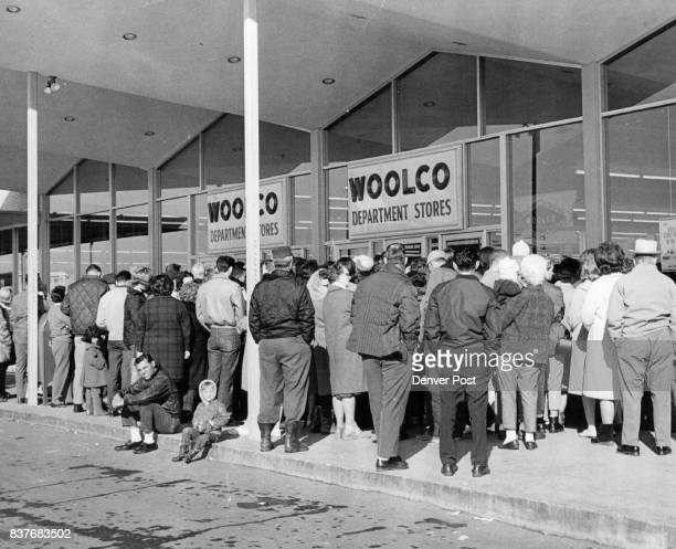 Crowd Waits for Woolco Sale Hundreds of people some of whom had waited since midnight jam the main entry of the Woolco Department Store at 3031 W...