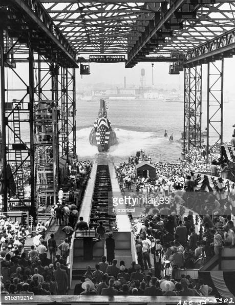 A crowd watches the launching of the nuclear powered submarine Seawolf in Groton Connecticut July 21 1955 The Seawolf is the second nuclear powered...
