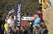 Crowd watching and supporting local surfer Tomas Fernandes of Portugal in action during heat 5 of round 4 of the Men's Ericeira World Junior...