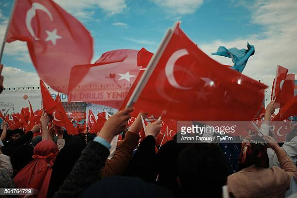 Crowd Waving Turkish Flags