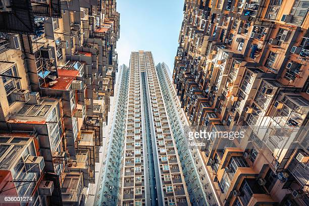 crowded immeuble de Hong Kong, en Chine