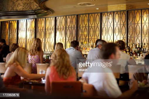 Crowded bar in fine restaurant