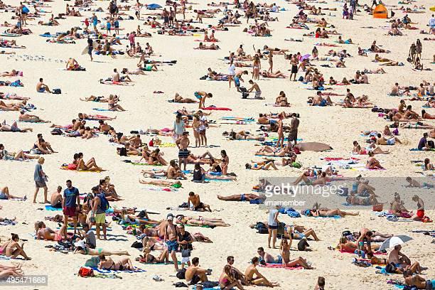 Crowded beach in hot summer day, Bondi beach Sydney Australia