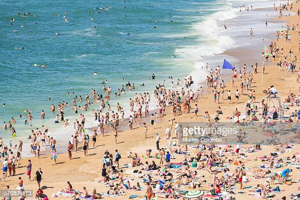 Crowded beach in summer, elevated view. Biarritz