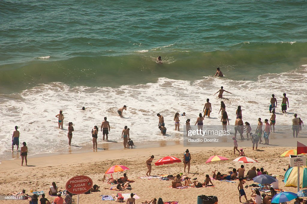 crowded beach : Stock Photo
