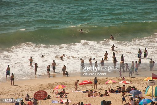 crowded beach : Stock Photo