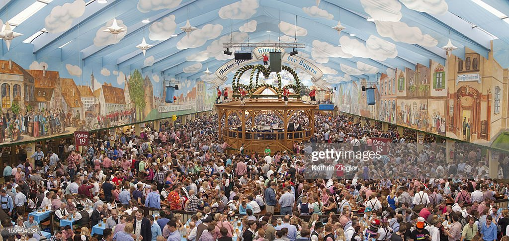 crowded beer tent at Munich Oktoberfest : Stock Photo