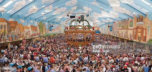 crowded beer tent at Munich Oktoberfest