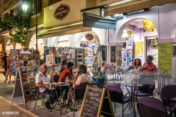 Crowded cafe at the happy hour  near Solomos square, Zakynthos Ionian Islands, Greece