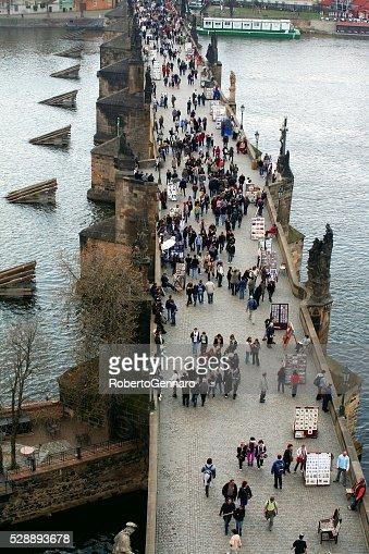 Crowded Charles Bridge Prague Aerial View