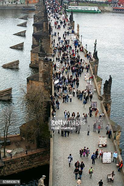 Crowded Charles Bridge Prague Aerial View