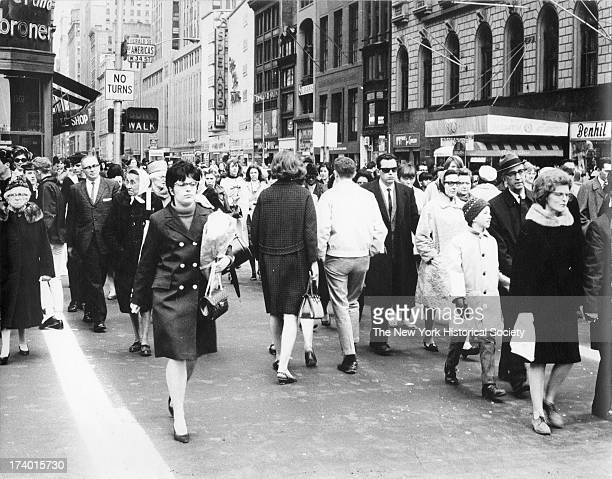 Crowded crosswalk Herald Square 34th Street New York New York 19th or 20th century