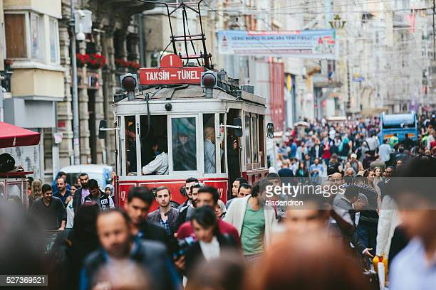 Crowded Istiklal street in Istanbul