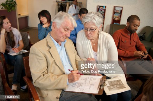 Crowded Medical Office Waiting Room : Stock Photo