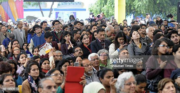 Crowded pandal during the session on Mujhe Jeene Do address by veteran Bollywood actress Waheeda Rehman at the Jaipur Literature festival at Diggi...