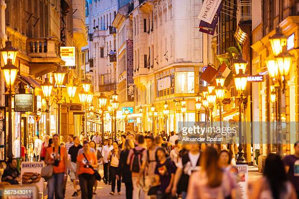 Crowded pedestrian street in Budapest, Hungary