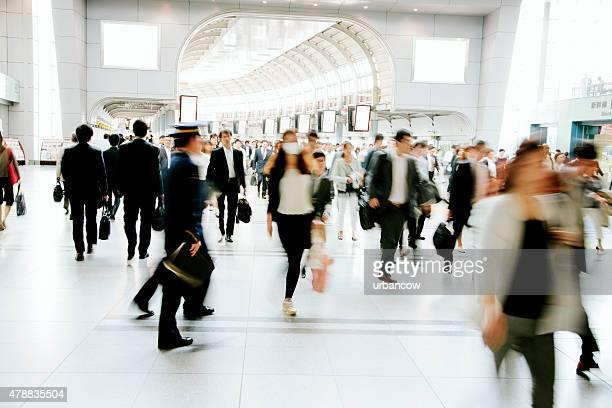 Crowded pedestrian walkway, business people, Tokyo