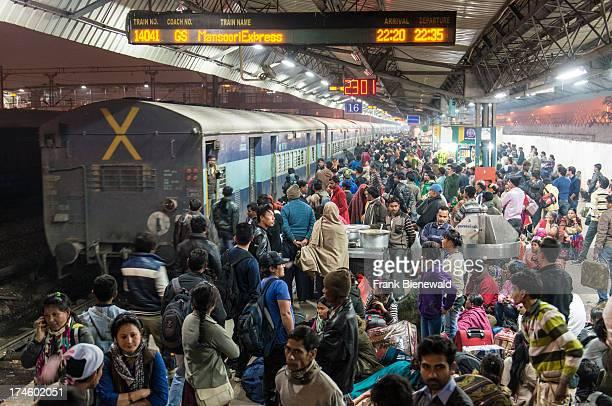 Crowded platform at New Delhi Railway Station