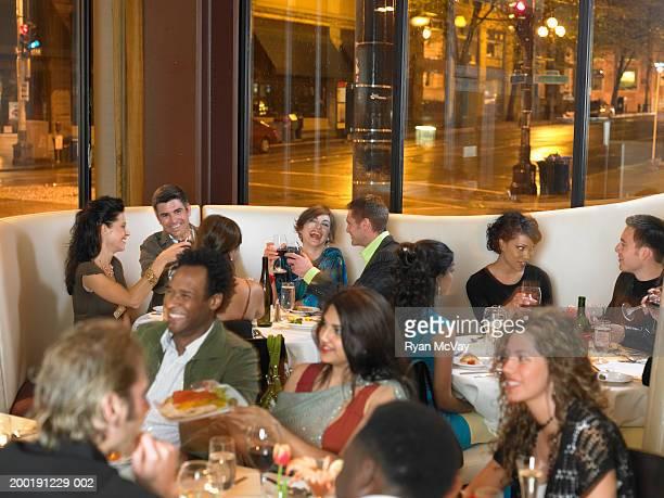 Crowded restaurant, night