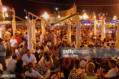 Crowded restaurants at the port in Lipari : Stock Photo