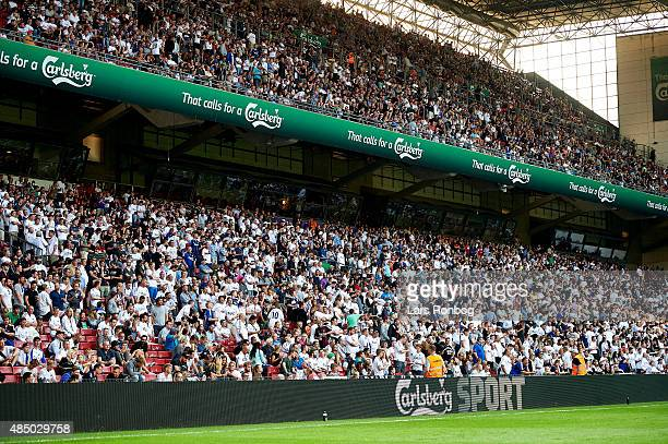 Crowded stands with fans of FC Copenhagen during the Danish Alka Superliga match between FC Copenhagen and AGF Aarhus at Telia Parken Stadium on...