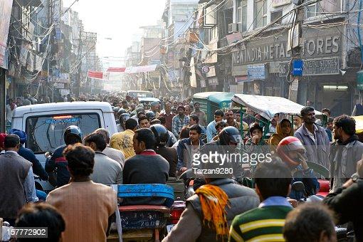 Crowded street in Chandni Chowk, New Delhi, India