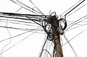 Crowded telephone lines on pole