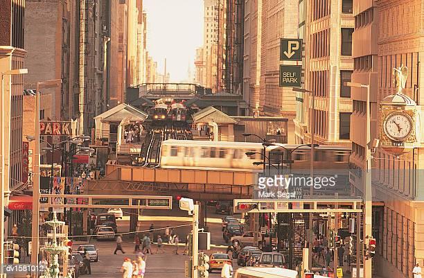 Crowded Urban Scene, Elevated Railways of Chicago, Illinois, USA