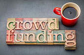 crowdfunding word abstract in letterpress wood type with a cup of coffee