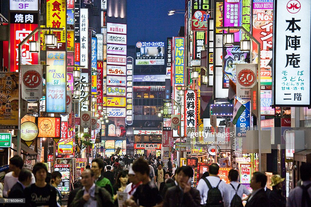 Crowds and neon in Kabukicho