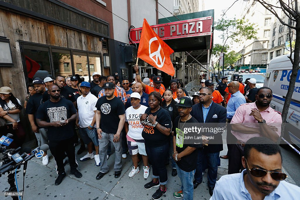 Crowds are seen during the National Anti-Violence Community Press Conference at Irving Plaza with family of Ronald McPhatter, shooting victim at Irving Plaza on May 26, 2016 in New York City.