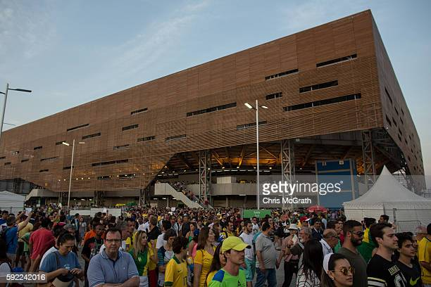 Crowds are seen leaving the handball venue at Olympic Park on Day 15 of the Rio 2016 Olympic Games on August 19 2016 in Rio de Janeiro Brazil The Rio...